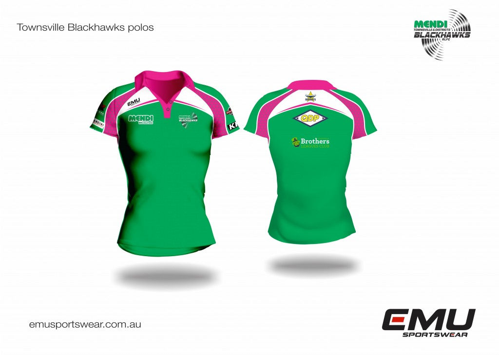 Townsville Blackhawks off field ladies polo design